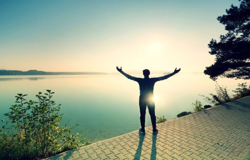 Man feeling free and liberated