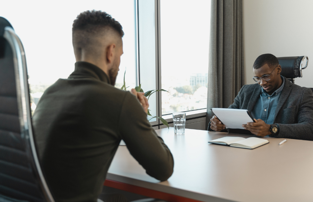 man trying to make a good impression at interview